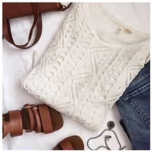 Anthropology Moth winter white chunky knit sweater